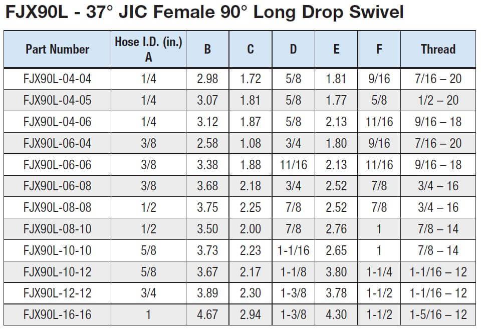 1 2 Quot Hose Id X 5 8 Quot 37 176 Jic Female 90 176 Long Drop Swivel