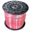 Image of red general purpose air and water hose on a reel wrapped in cellophane for shipping.